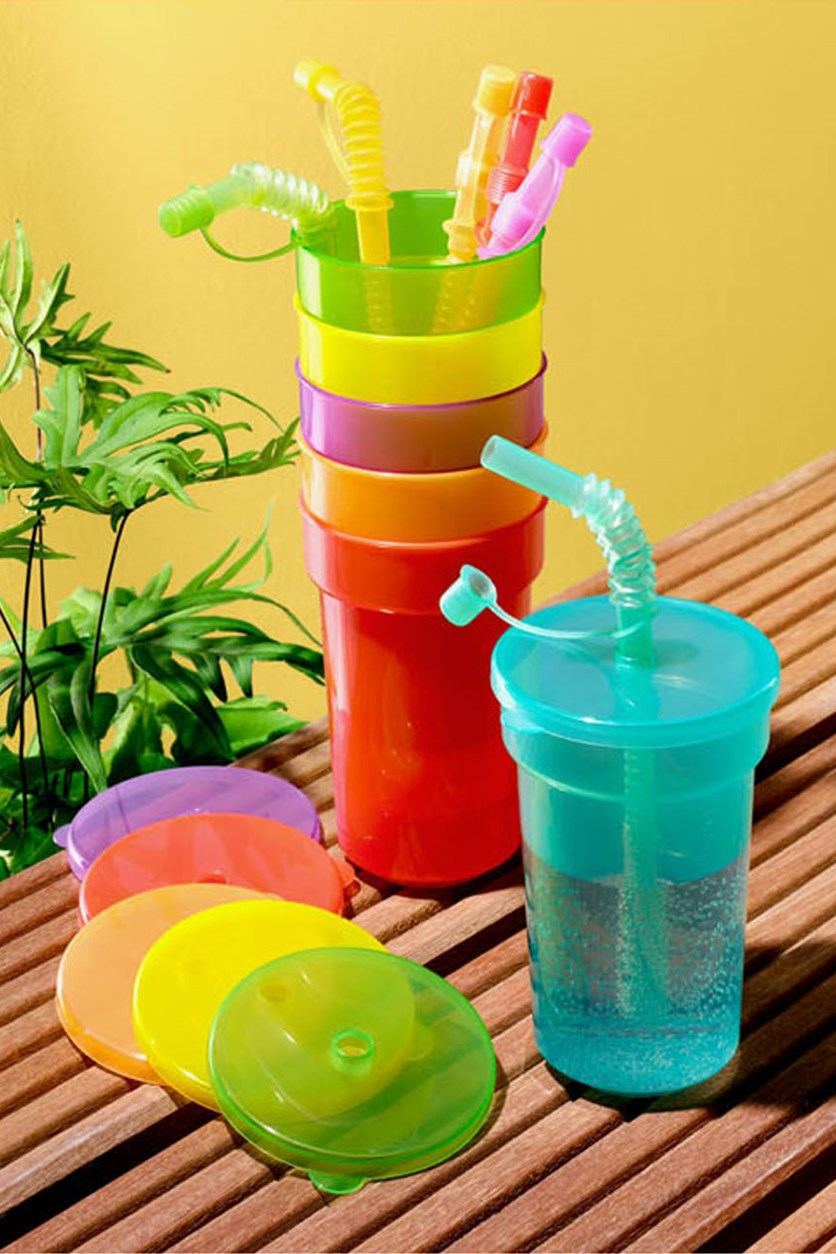 Kids' 6 Sets Cups, Yellow/Green/Red/Orange