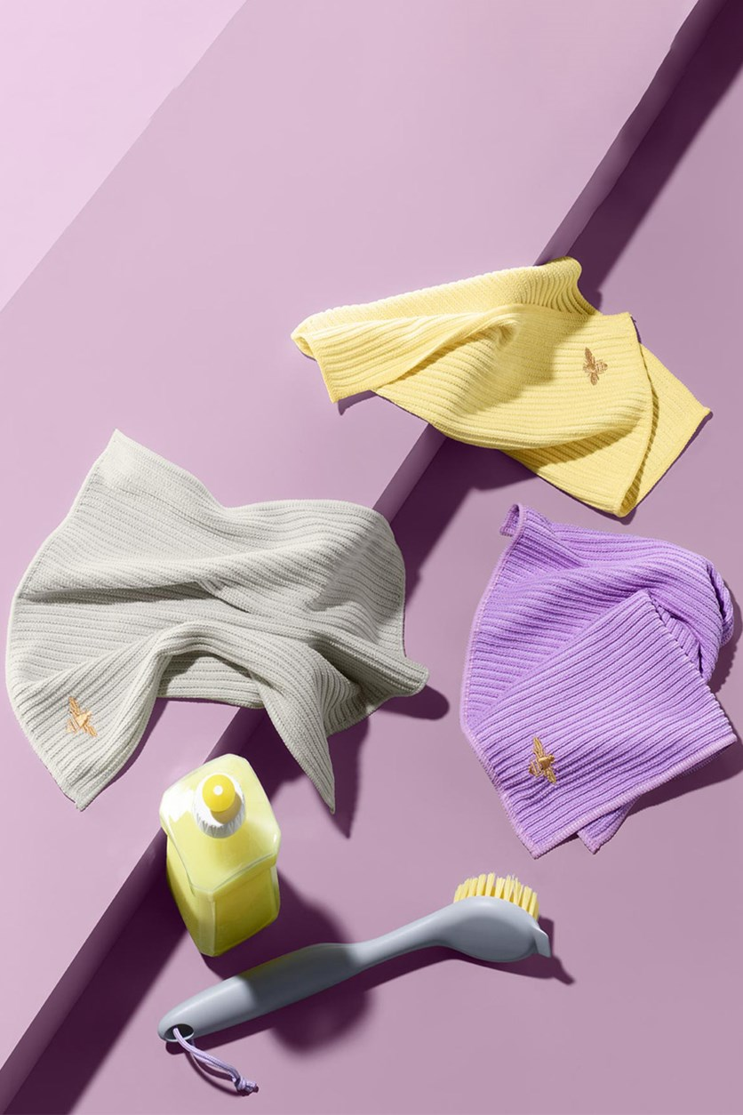 Cleaning Cloth Set, Yellow/Purple/Grey