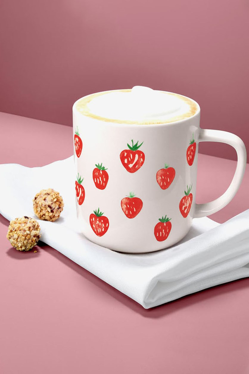 Printed Strawberry Mug, Pink/Red