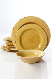 Mauna Crackle Set of 12 Melamine Dinnerware Set, khaki