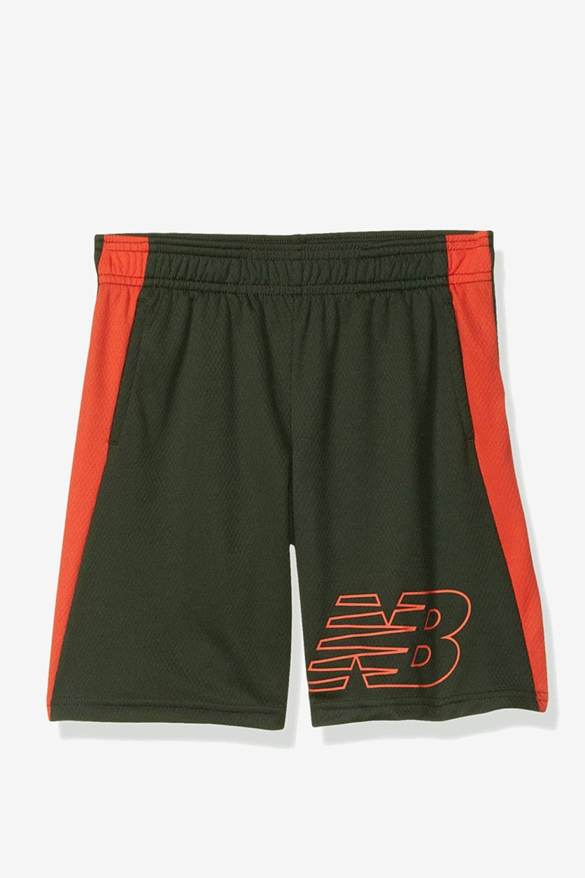 Kid's Boys Basketball Shorts, Olive/Coral