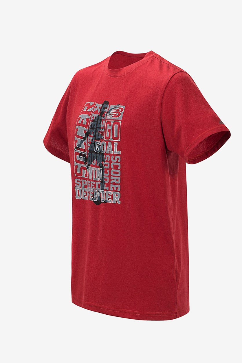Boys Tempo Red Soccer Tee, Red