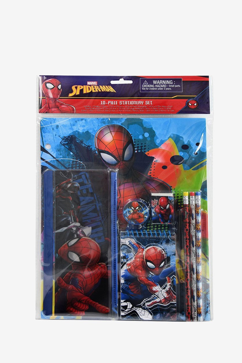 Spider-Man 10 Piece Stationery Set, Red/Blue Combo