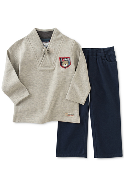 Baby Boys' 2-Pc. Shawl-Collar Top & Pull-On Pants Set, Gray/Navy