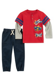 Baby Boys 2-Pc. Layered-Look Top & Jogger Pants Set, Red/Navy