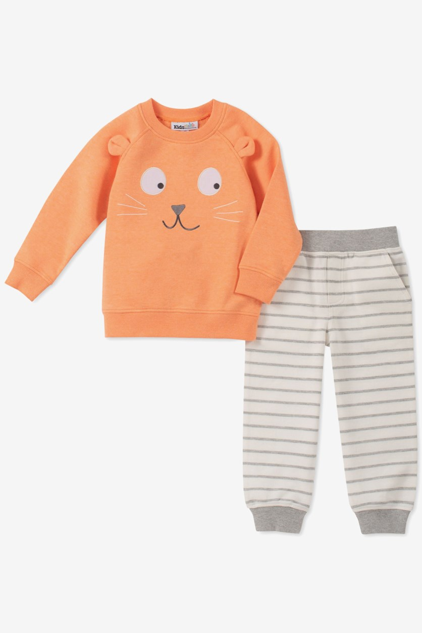 Baby Boys 2-Pc. Sweatshirt & Jogger Pants Set, Orange/Grey