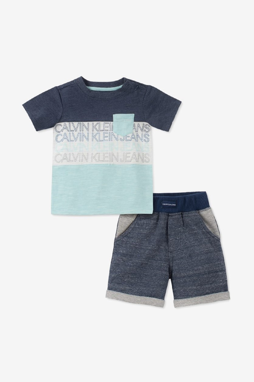 Baby Boys 2-Pc. Colorblocked T-Shirt & French Terry Shorts Set, Navy/Mint