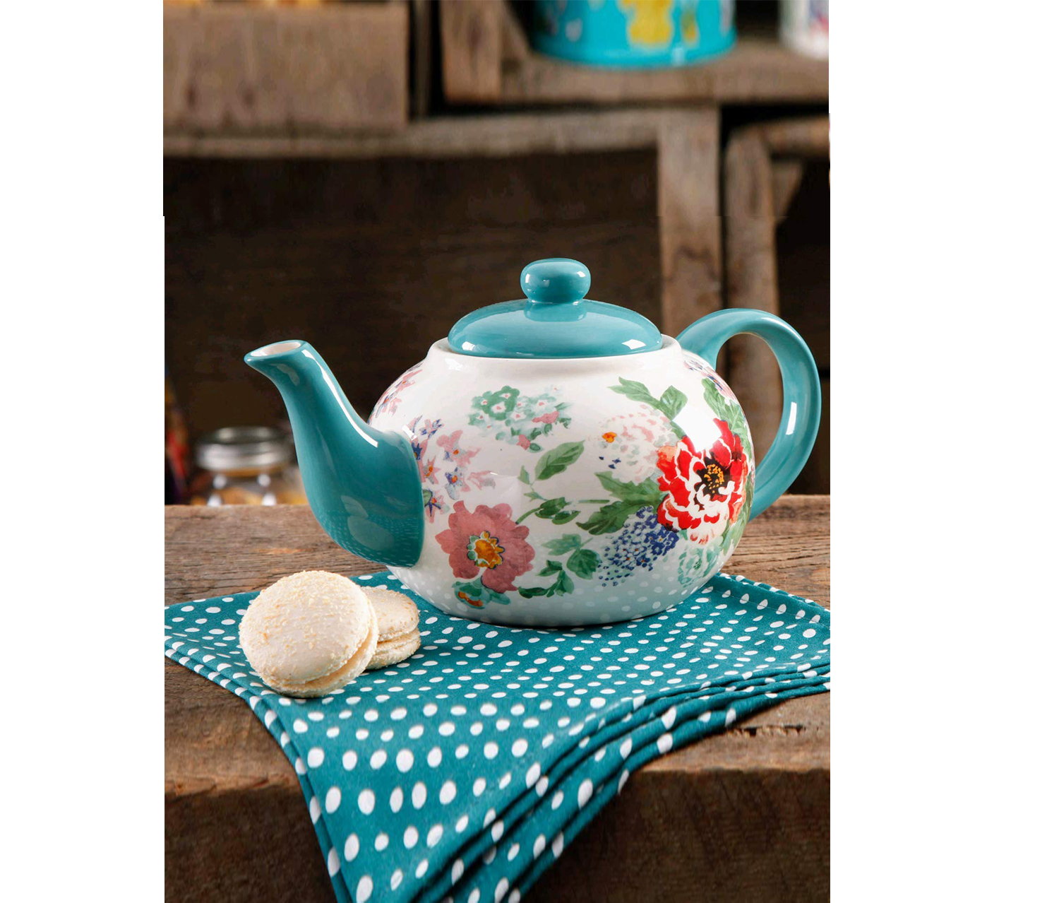 Country Garden Teapot, Blue/White