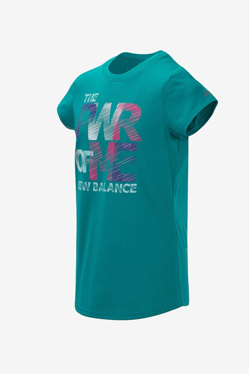 Girl's Cap Sleeve Power of Me Tee, Teal