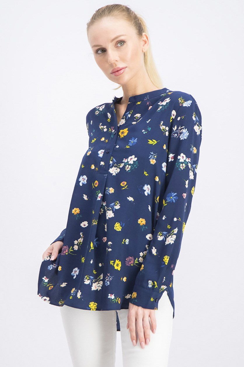 Womens Long Sleeve Floral Top, Navy