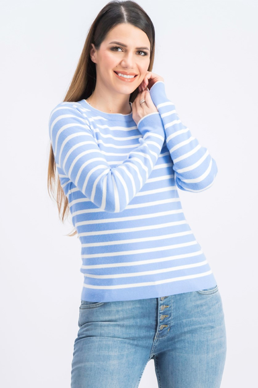 Women's Long Sleeve Stripe Top, Blue/White
