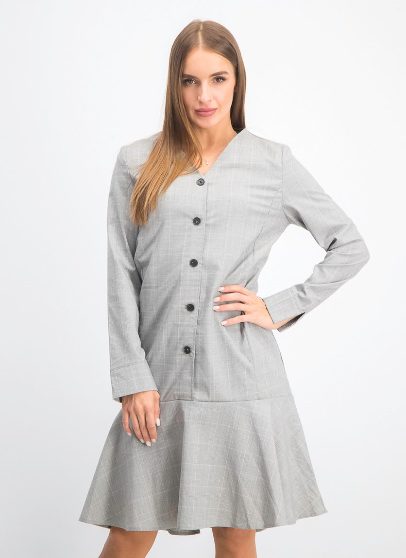 Women's V Neck Plaid Dress, Gray