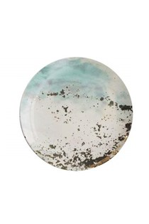 Soiree Ceramic Round Plate One peice,  Green
