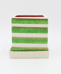 Striped Planter, Green/Gold