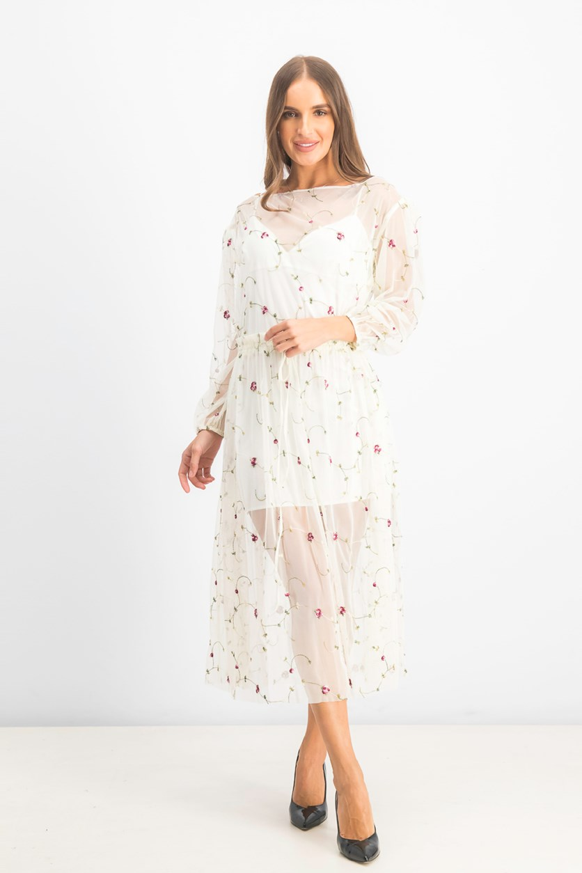 Women's Embroidered Dress, Ivory