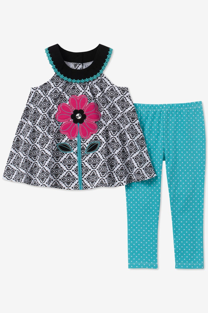 Baby Girls 2-Pc. Floral Tunic & Dot-Print Leggings Set, Turquoise/Black