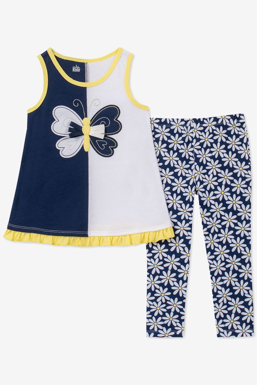 Baby Girls 2-Pc. Butterfly Tunic & Floral-Print Leggings Set, Navy/White