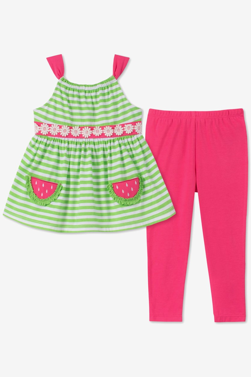 Baby Girls 2-Pc. Striped Tunic & Leggings Set, Lime/Pink