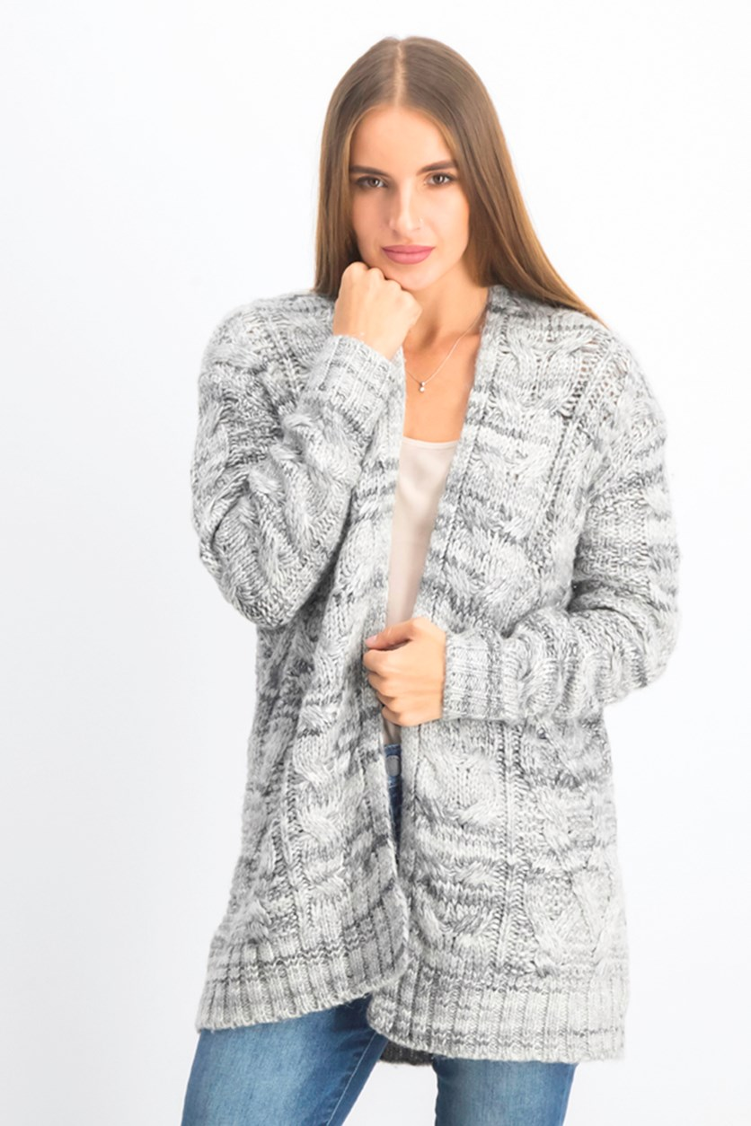 Women's Textured Knit Cardigan, Grey