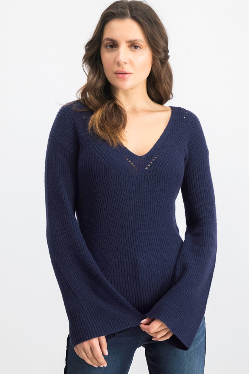 Women's Textured Knit Sweater, Navy