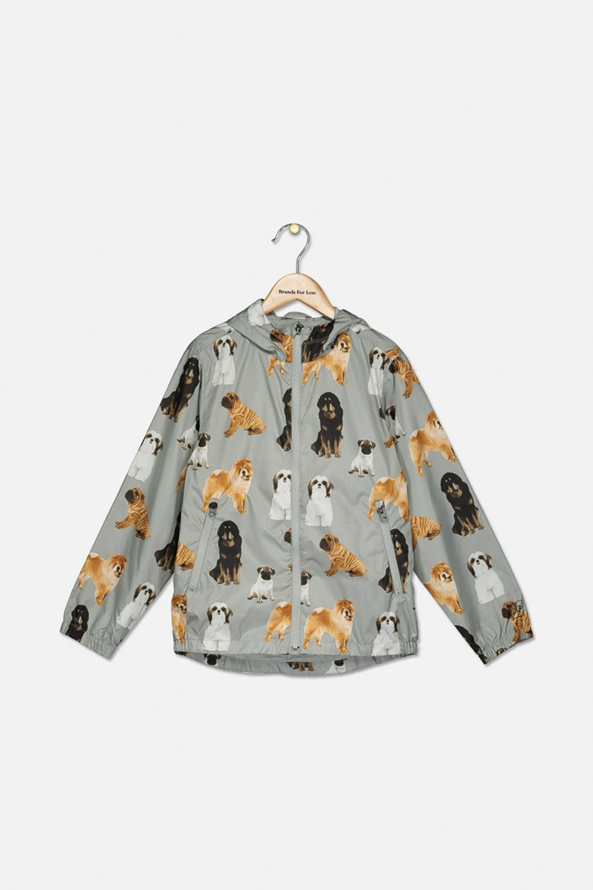 Kids Boys Animal Printed Hooded Jacket, Gray