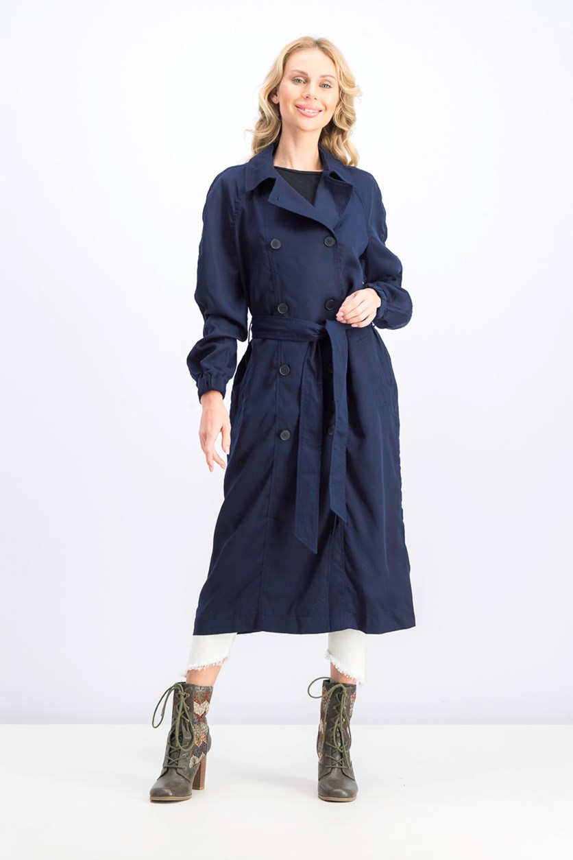 Women's Trench Coat, Navy Blue