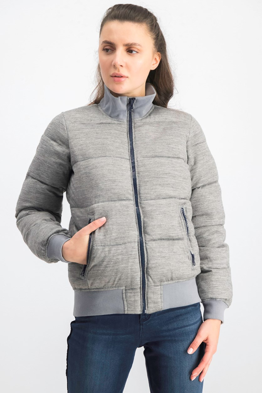 Women's Puffer Jacket, Grey Heather