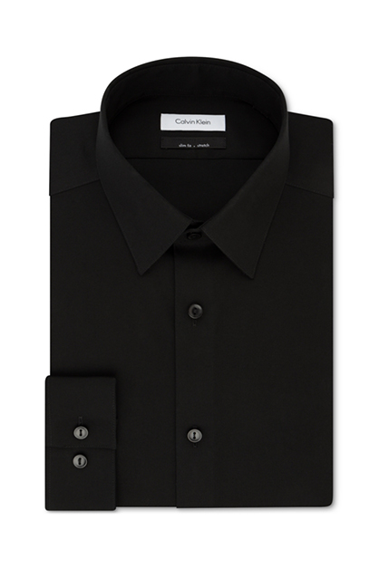 Men's Non-Iron Stretch Performance Dress Shirt, Black