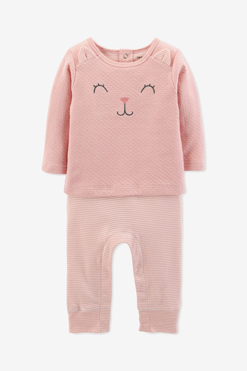 Toddlers Baby Girls Layered-Look Kitty-Cat Coverall, Blush