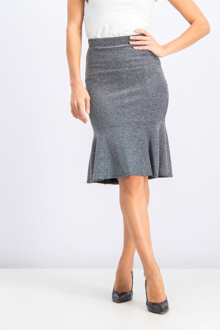 Women's Pull On A Line Skirt, Silver