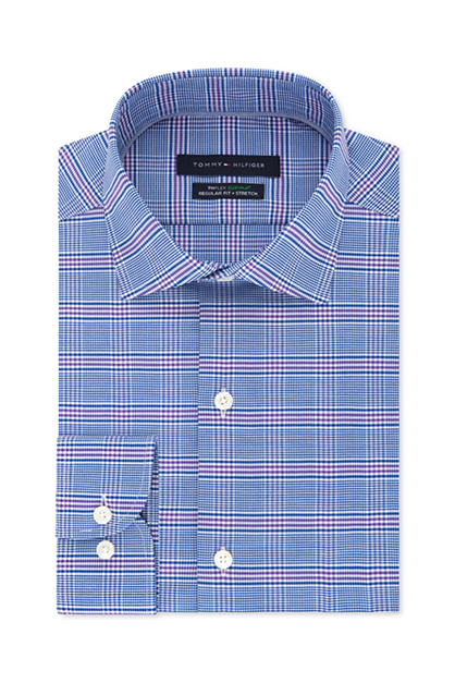 Men's Non-Iron Stretch Check Dress Shirt, Purple/Blue