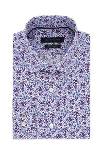 Men's Non-Iron  Stretch Floral Dress Shirt, White/Purple