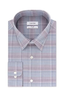 Men's Non-Iron Performance Plaid Dress Shirt, Grey