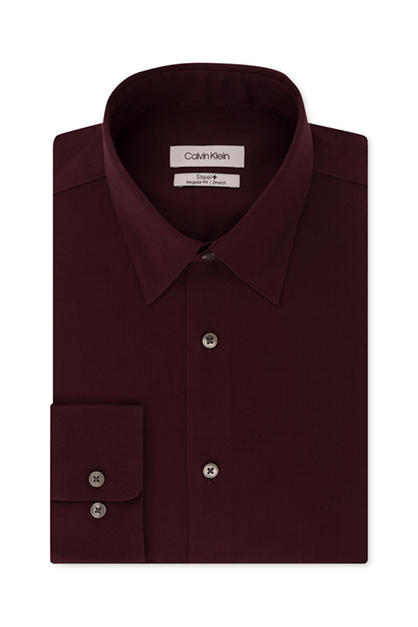 Men's No-Iron Steel Stretch  Dress Shirt, Maroon