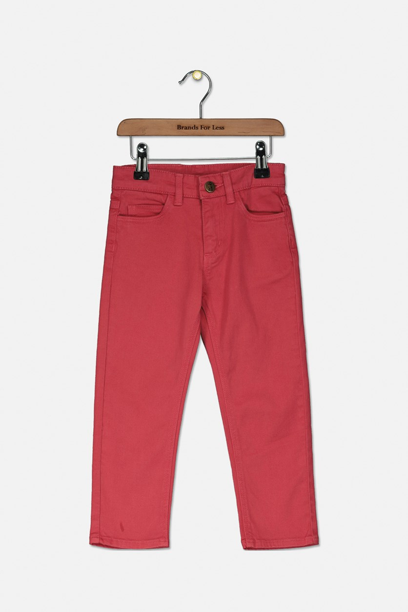 Girls Stretch Cotton Twill Pants, Raspberry