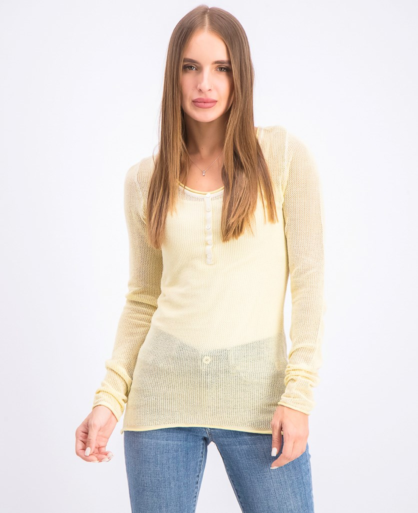 Women's Knitted Long Sleeve Top, Pale Straw Wash