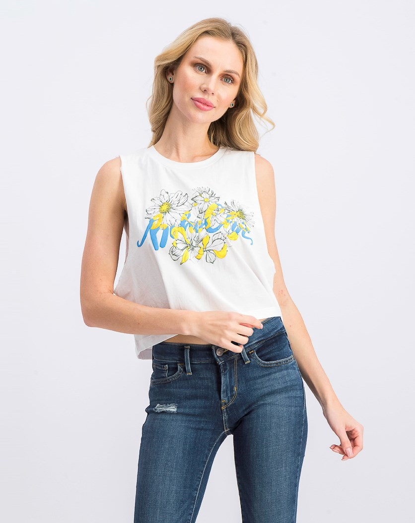 Women's Floral Print Sleeveless Tops, White/Yellow