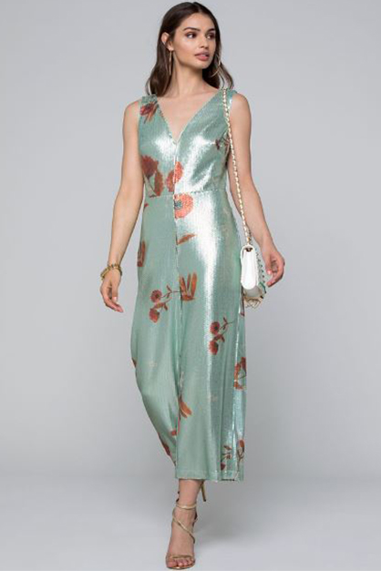 Women's Printed Sequin Jumpsuit, Green