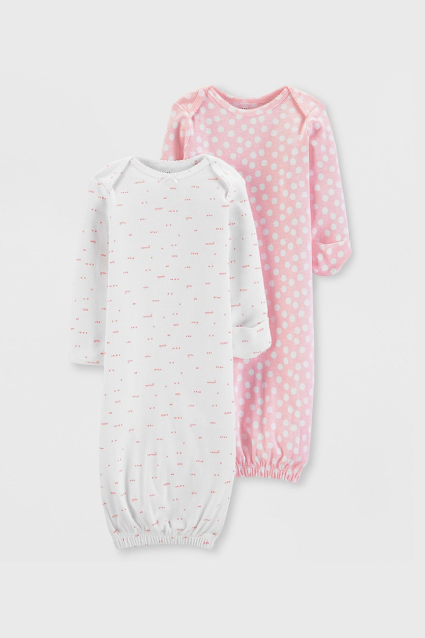 Baby Girls' 2packs Printed Cotton Sleeper Gowns, Pink/Grey