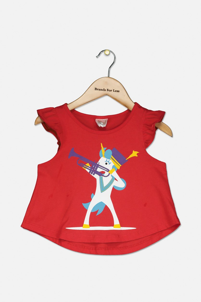 Toddler Girl's Graphic Print Tops, Cherry