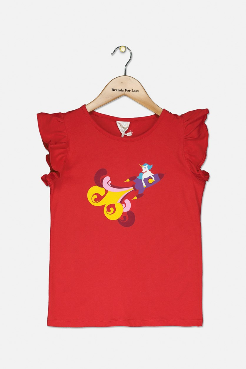 Girls Graphic Top, Red