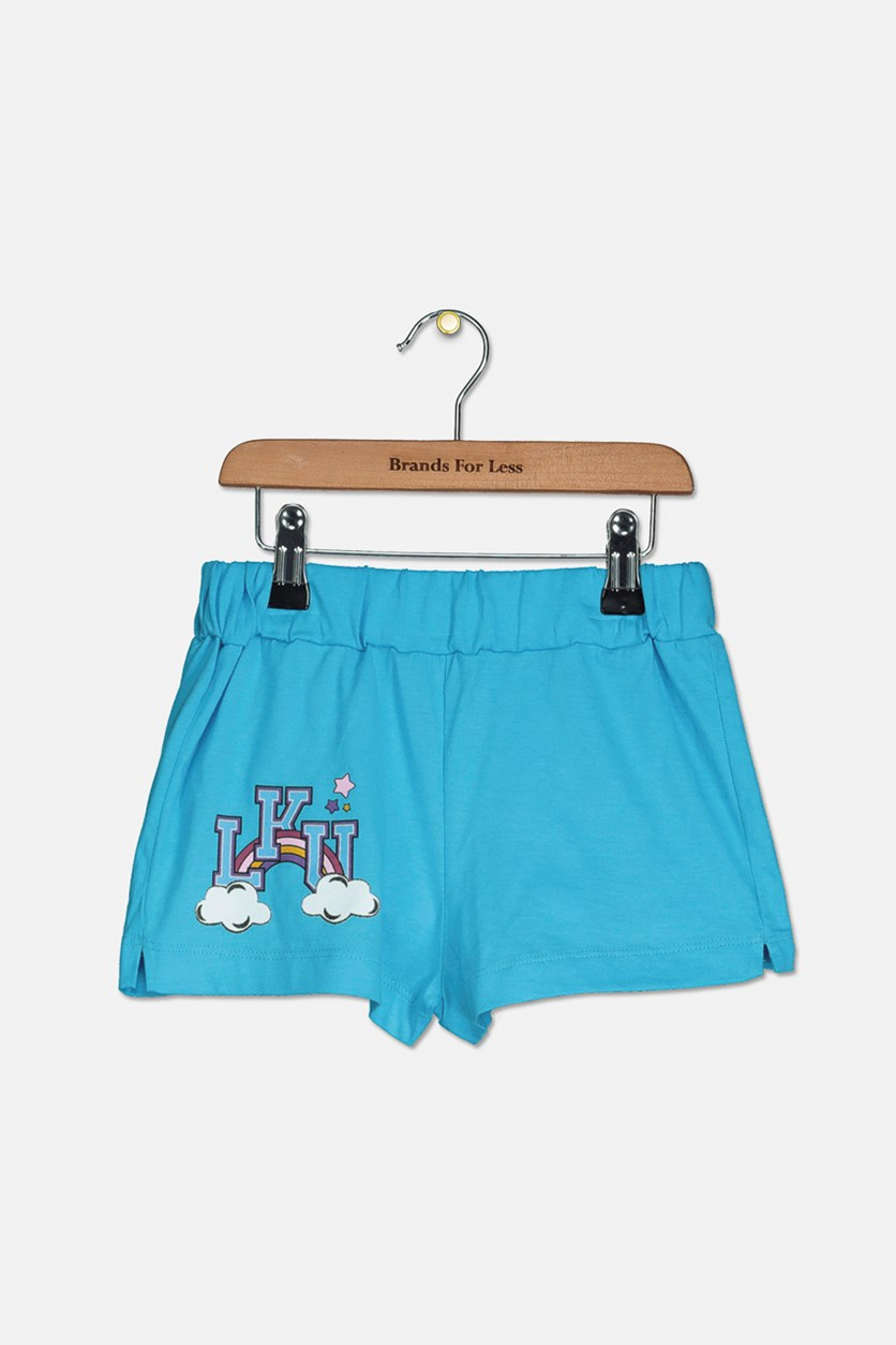 Girls LKU Graphic Shorts, Baby Blue
