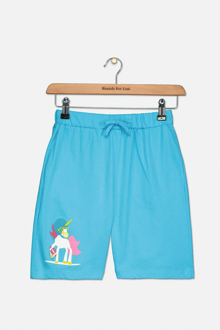 Girls Graphic Pull On Shorts, Blue