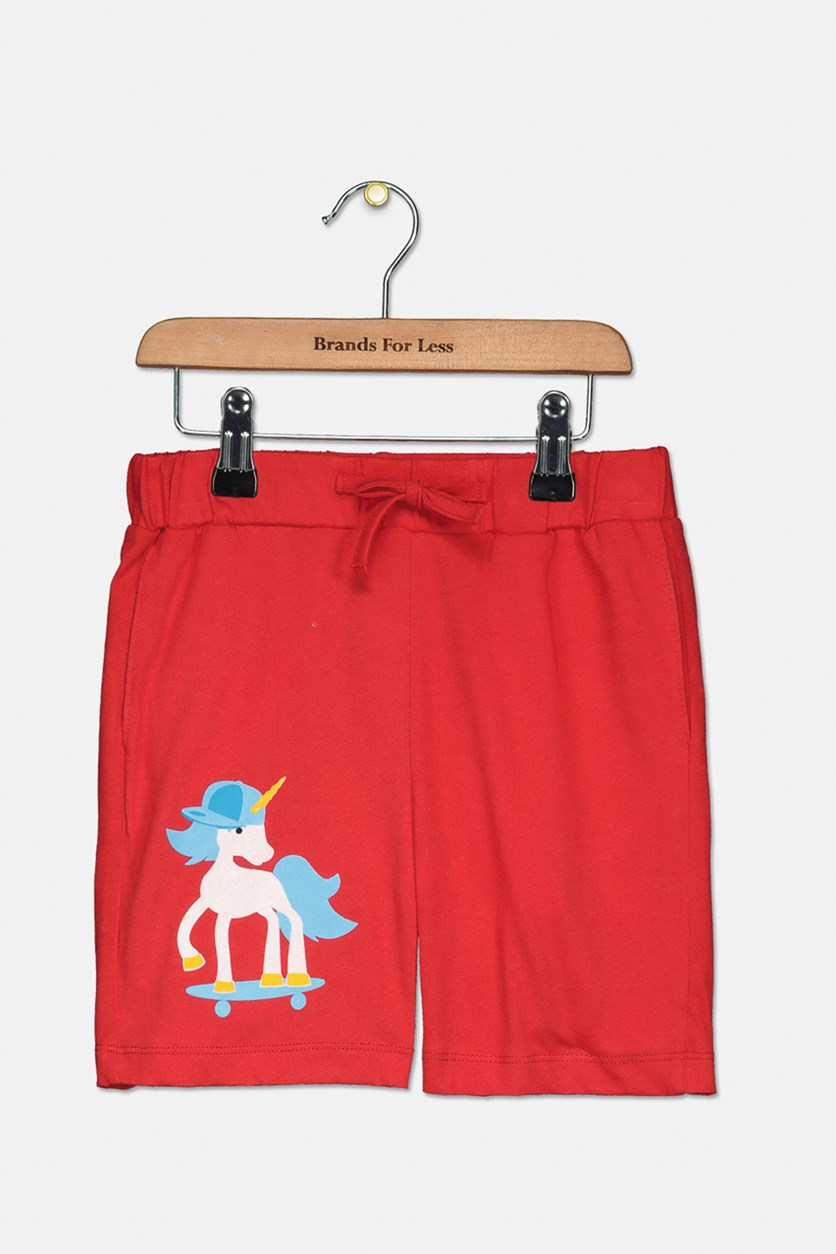 Toddler Boy's Graphic Pull-On Shorts, Red