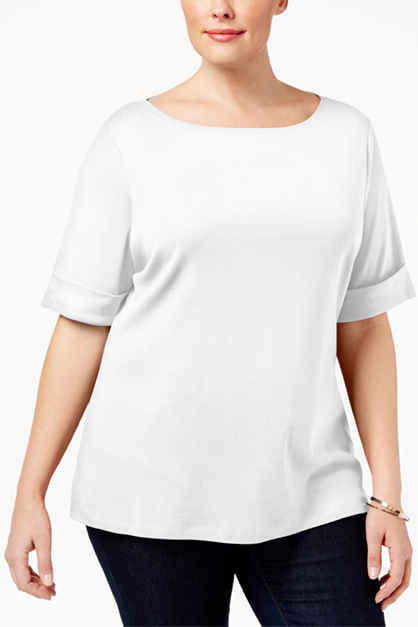 Women's Plus Size Cuffed T-Shirt, White