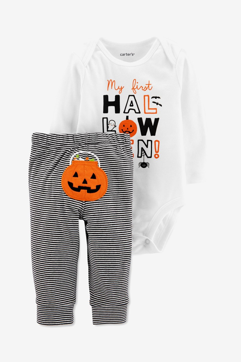 Baby Boys Halloween Bodysuit & Pant Set, Black/White