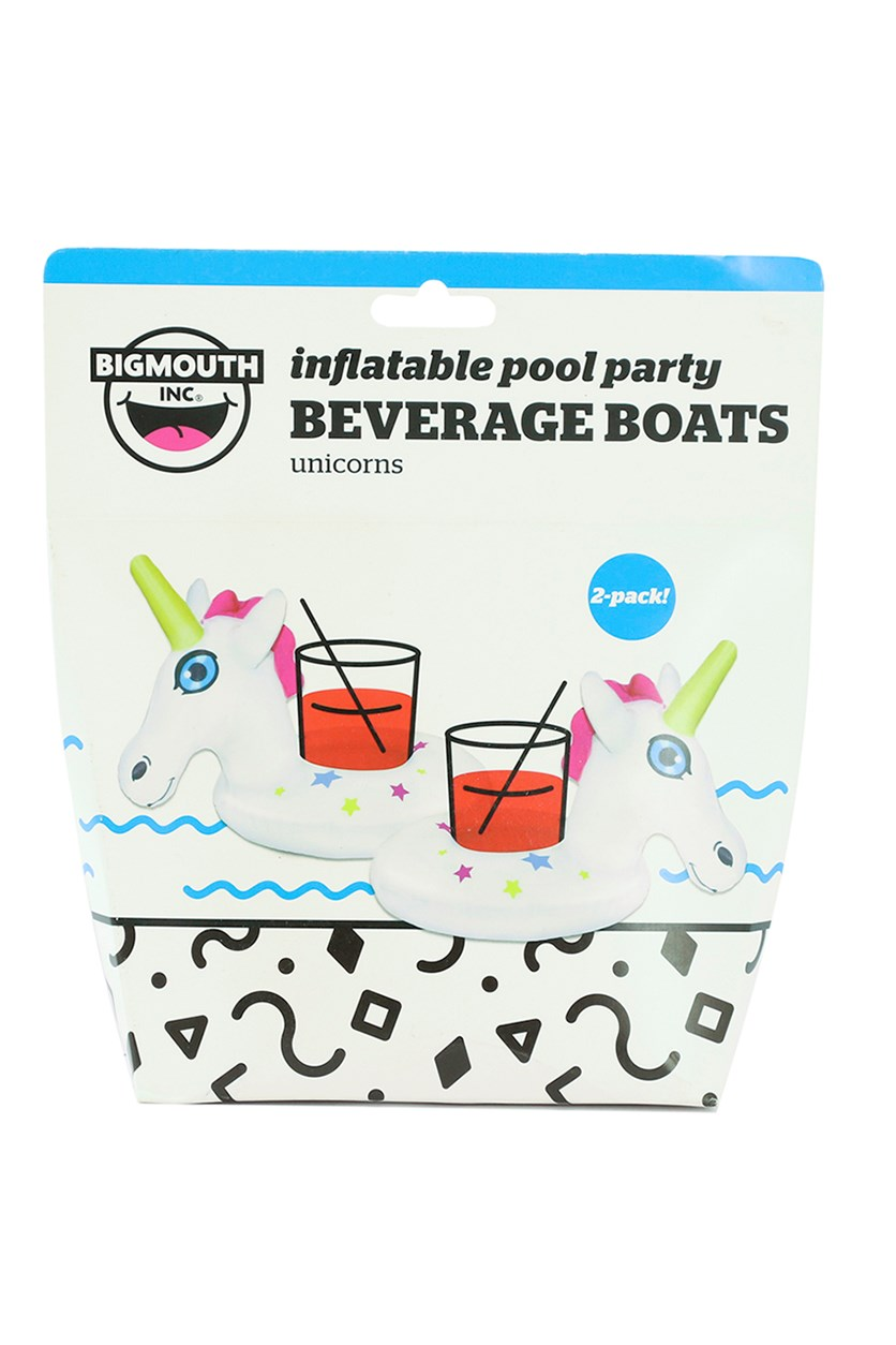 2-Pack Inflatable Unicorn Beverage Boats, White