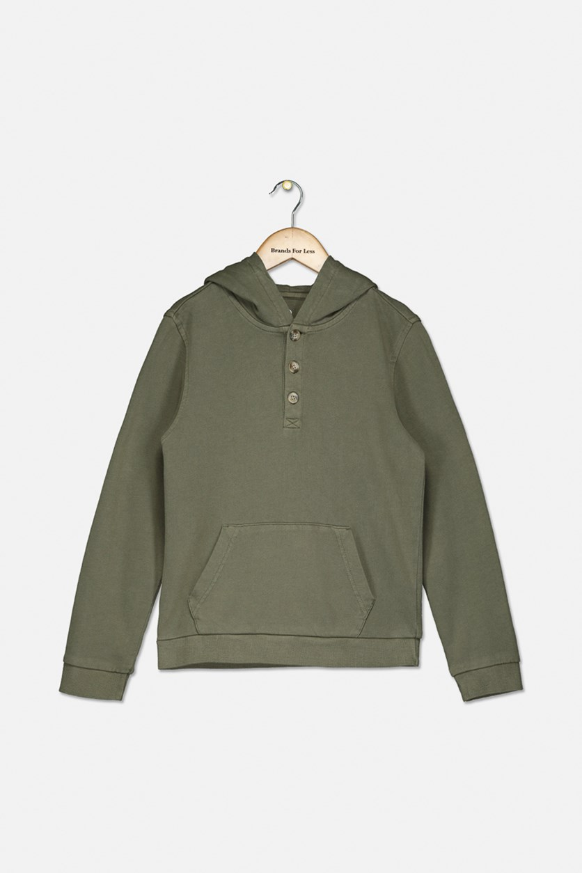 Kids Boys Hooded Sweater, Olive