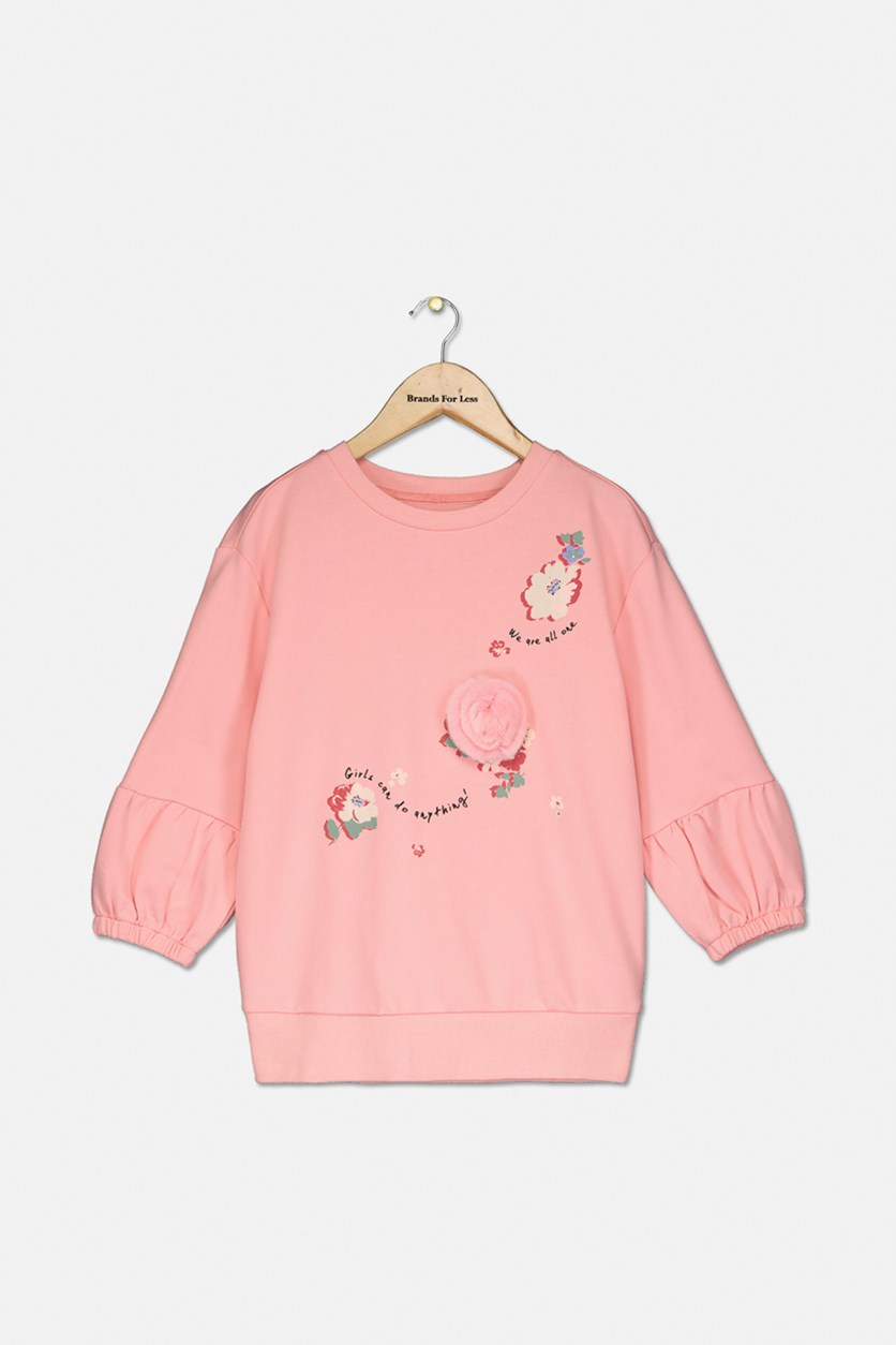Girls Pullover Graphic Textured Sweater, Pink