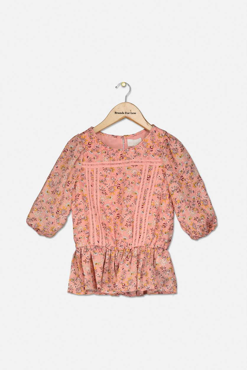 Kids Girls Peplum Top, Rose Bud
